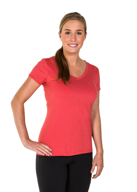 Karleigh V Neck T- Shirt Coral – FREE DELIVERY !!!